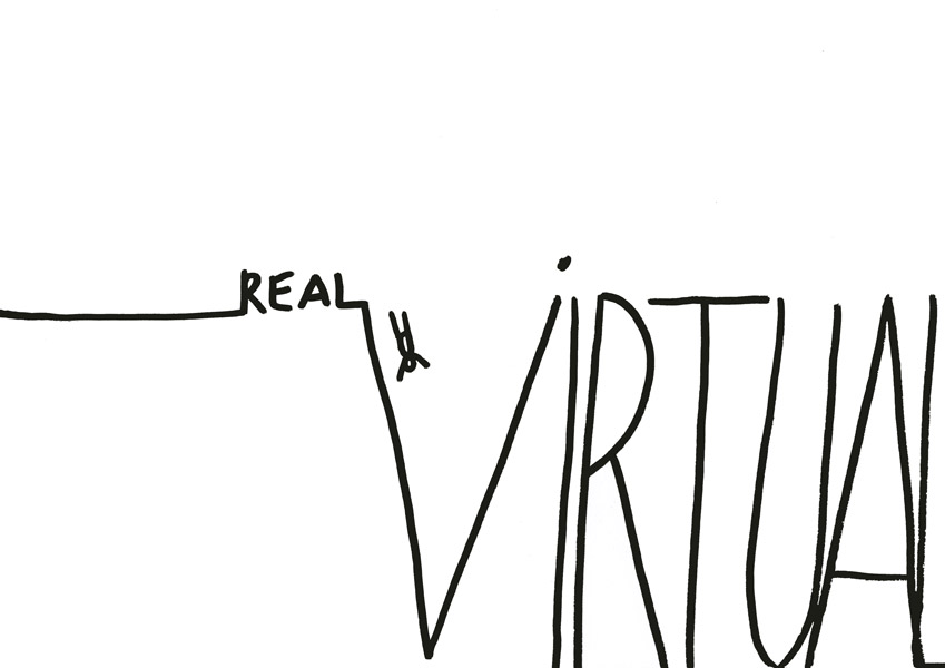 Real vs virtual, drawing, 2012