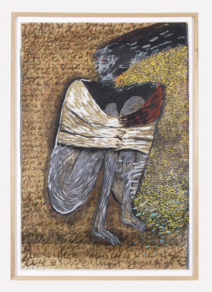 Alone and Grey, tempera, gouache and ink on grey cardboard, 203 x 142 cm (framed), 1989