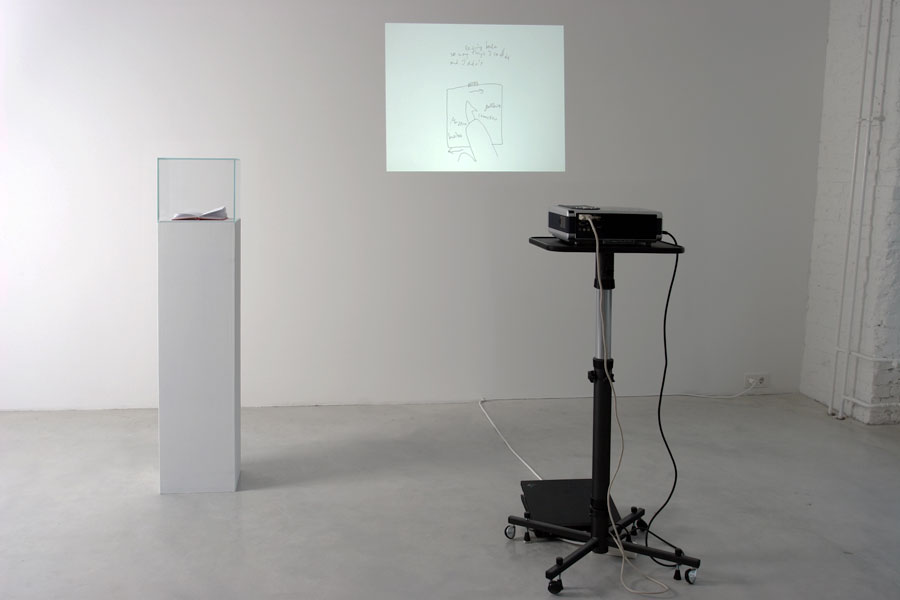 Proposal for the display of Dan Perjovschi´s Notebooks and Dioramas, exhibition view at Galerija Gregor Podnar, Berlin, 2013