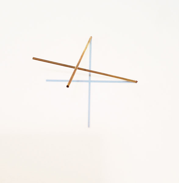 Sjene (24), installation; wire, brass, light, variable dimensions, brass element: 15 x 0.3 cm each, 1990