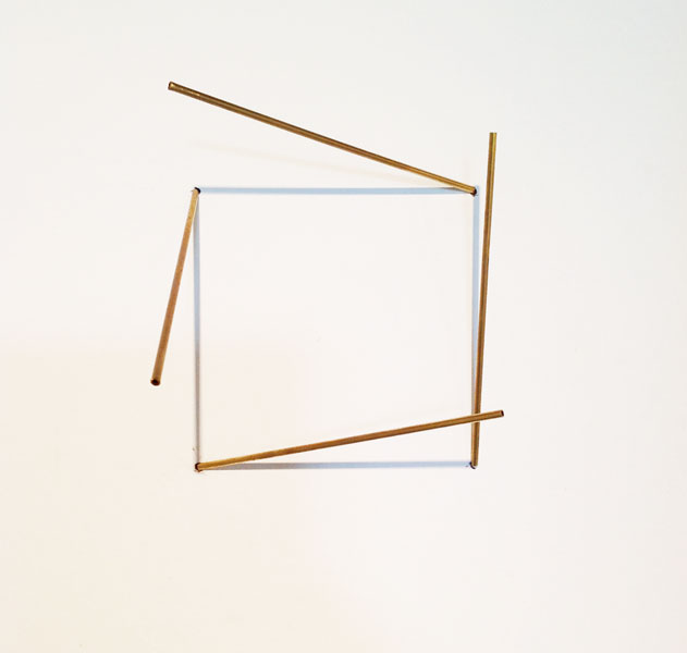 Sjene (27), installation; wire, brass, light, variable dimensions, brass element: 15 x 0.3 cm each, 1990