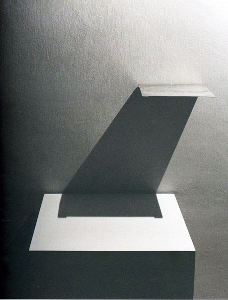 Sjene, metal sheet, light projector, pedestal; pedestal: 110 x 30 x 30 cm and metal sheet: 15 x 10 x 1 cm, 2002
