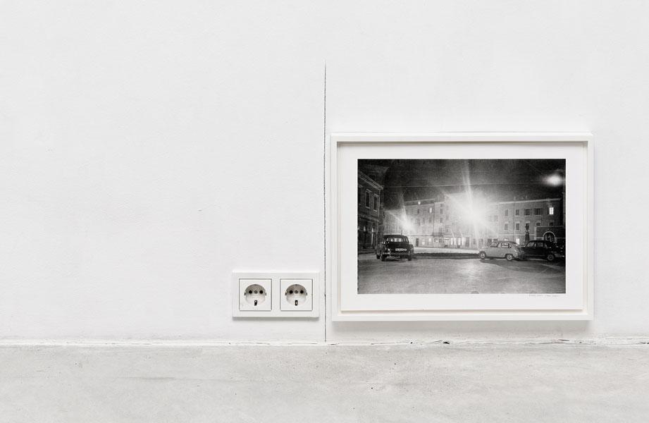 Symmetry, electric plug, pencil, photograph, 52.5 x 51 x 3 cm (variable dimenaions), 2012