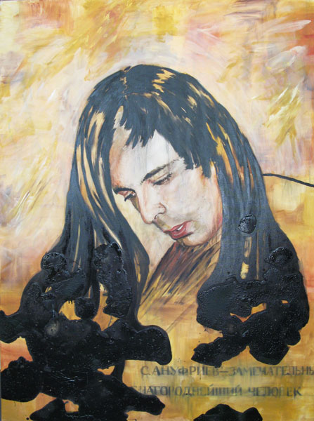 Portrait of S. Anufriev, oil and enamel on canvas, 210 x 150 cm, 2012