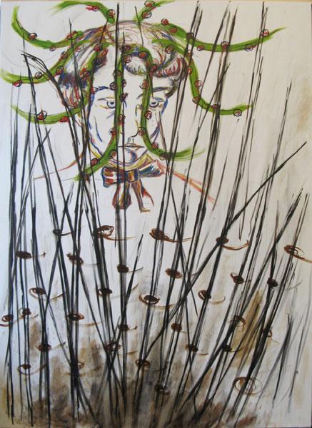 Portrait of Serezha Esenin in Reeds, oil on canvas, 180 x 130 cm, 2012