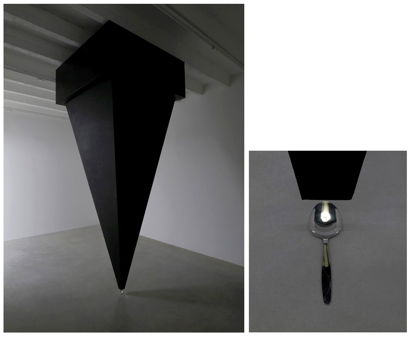 Pre-projection, 2008; Detail; silver spoon, plywood, paint, LEDs, ceiling fan, ca. 350 x 120 x 120 cm. Installation view, Galerija Gregor Podnar, Berlin. Photo: Marcius Schneider