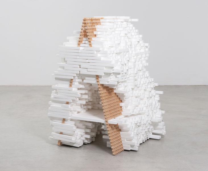 A, 2010; styrofoam, plywood, 152 x 120 x 100 cm