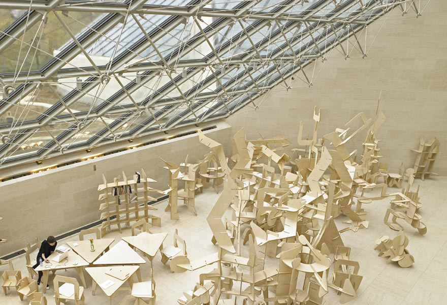 Mudam Studio, wood, 1000 units, ca. 200 m2, 2006. Exhibition view at Mudam Luxemburg, Muśee d'Art Moderne, Gran-Duc Jean, 2006