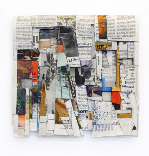 Times (March 20), 2011; newspaper, glue, cotton string, 31 x 30 cm