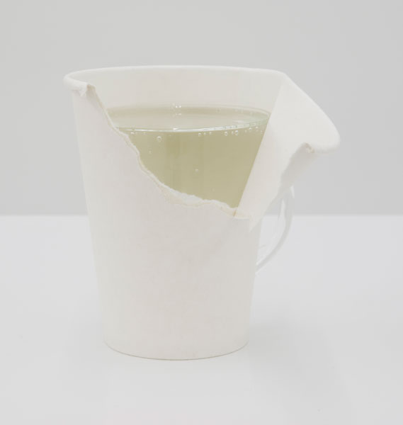 Untitled (Pair), glass cup, paper cup, sparkling water, 13 x 7 cm, 2010