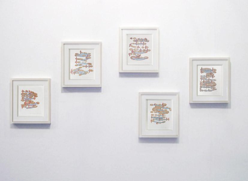 Skaldic Kennings, color pencil on paper, 5 drawings, 28 x 34 cm each (framed), 1997