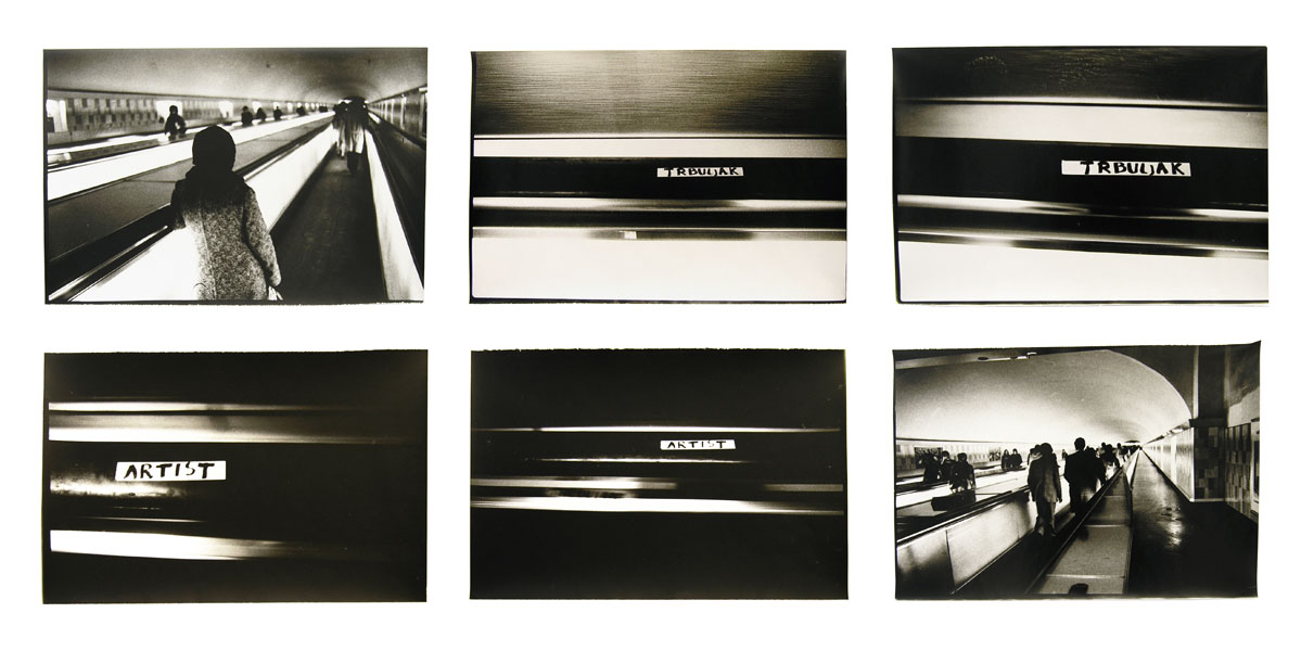 Untitled (Trbuljak – Artist) I, series of six B&W photographs, 30 x 45 cm each, 1973