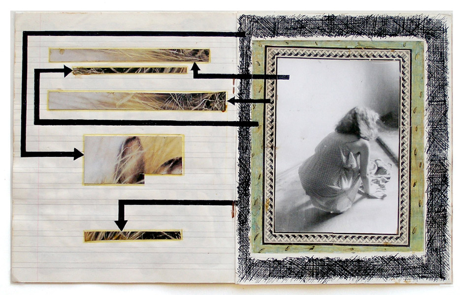 Untitled, 1986, pages from a notebook on cardboard, collage and black pen on paper, 20,5 x 33,5 cm