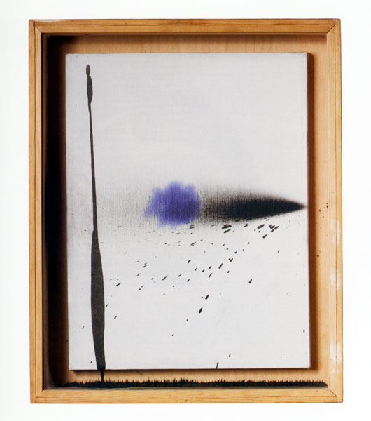 Untitled, stamping ink, acrylic, canvas, wood, glass, 55 x 45 x 9 cm, 1974-1984