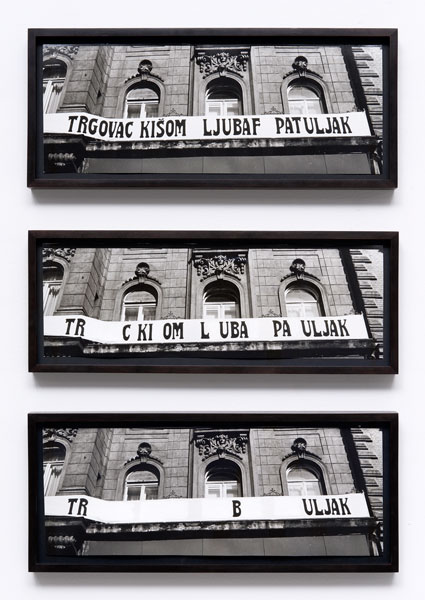 Untitled, three silver prints, paint, 19 x 44 cm each, 1975