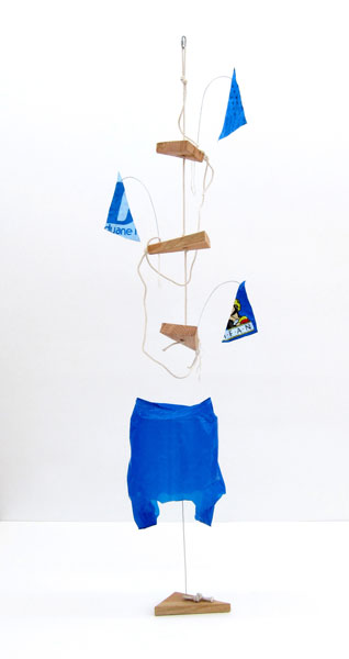 Untitled, wood, wire, metal, rope, string, plastic, plastic bag, 230 cm x 70 cm, 2009