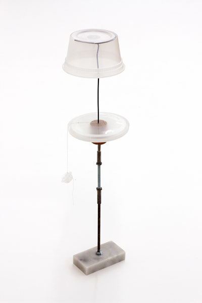 Untitled, marble wood, metal, wire, plastic, thread, 50 x 13 x 13 cm, 2011