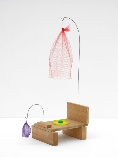 Untitled, wood, wire, produce nets, plastic lid, bottle cap, 71 x 47 x 25 cm, 2007- 2008