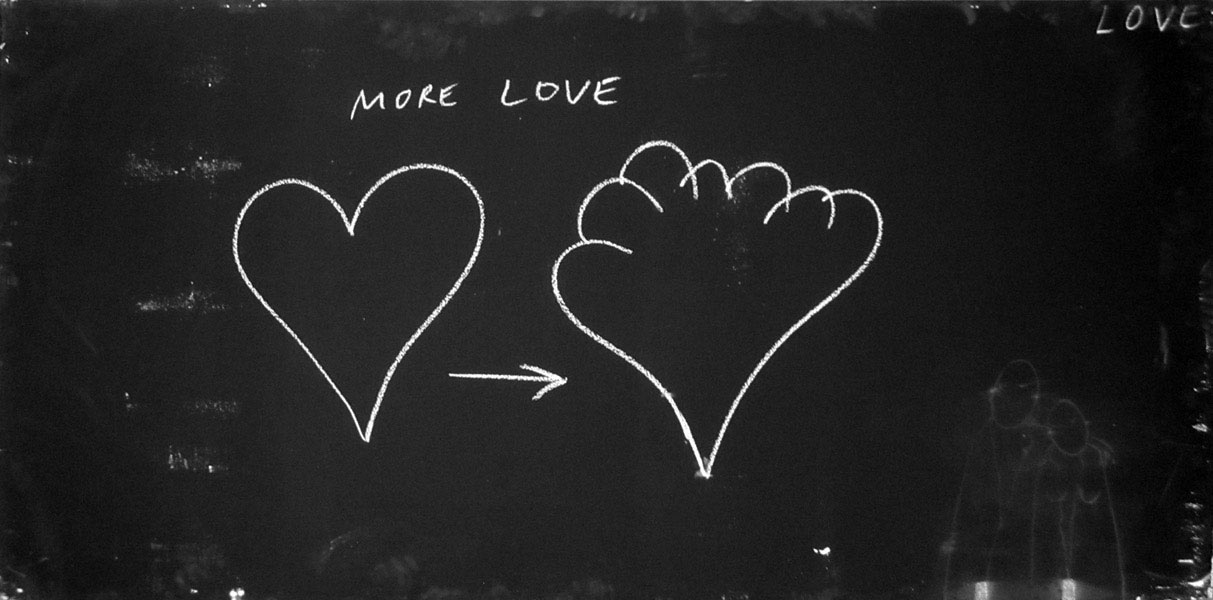 Chalk Reality (Love), chalk on black board, 120 x 240 cm, 2010 - 2011