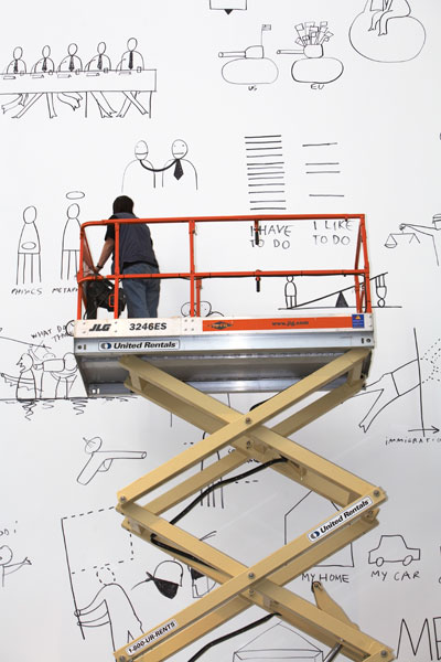 Dan Perjovschi drawing at MoMA, Museum of Modern Art, New York, 2007. Photo: Robin Holland