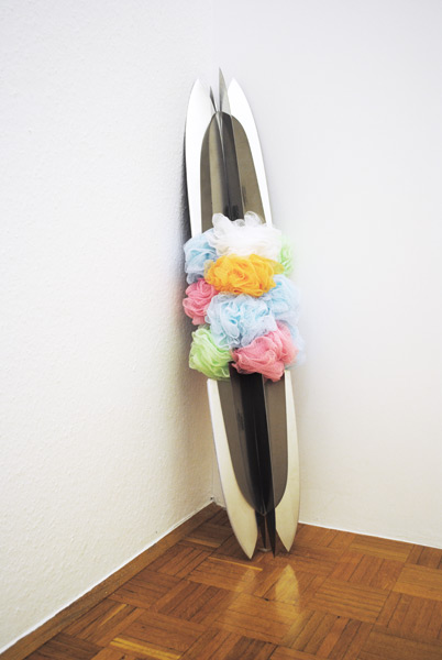 Dora, inox steel with plastic sponge, 100 x 24 cm, 2009