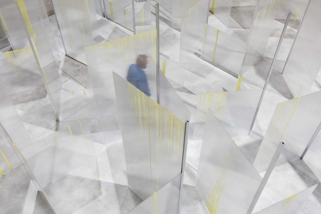 Labyrinth Optimization, 2017; plywood, paint, paper, metal, concrete bricks, variable dimensions. Installation view, Slight Agitation, Fondazione Prada, Milan. Photo: Delfino Sisto Legnani