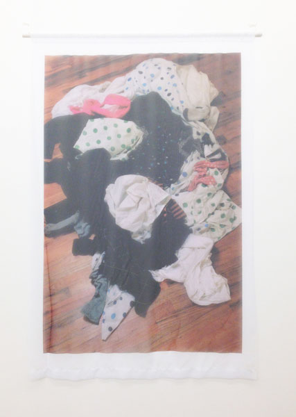 Dirty Laundry, wood, string, screw eyes, colour photograph printed on poly chiffon fabric, 198 x 137 x 1.5 cm, 2009