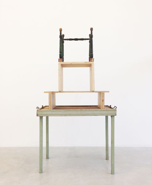 Tower, wood, furniture parts, 127 x 76 x 42 cm, 1989