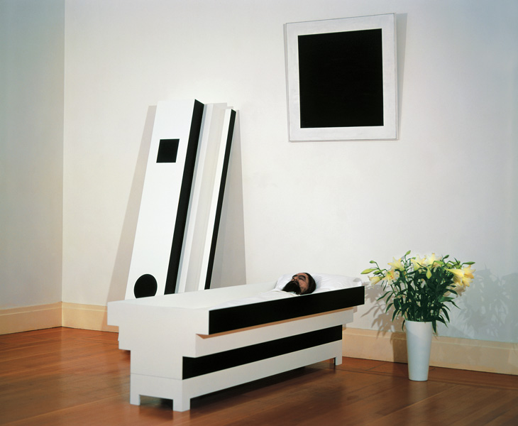 Corpse of Art, mixed media installation (acrylic resin on wood, clothes, wax, flowers), variable dimensions, 2003-2004