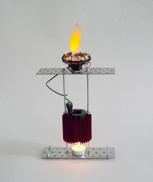 Prometheus Electronic (fan version), candle, thermoelectric generator, electric fan, cloth, 35 x 20 x 6 cm, 2013