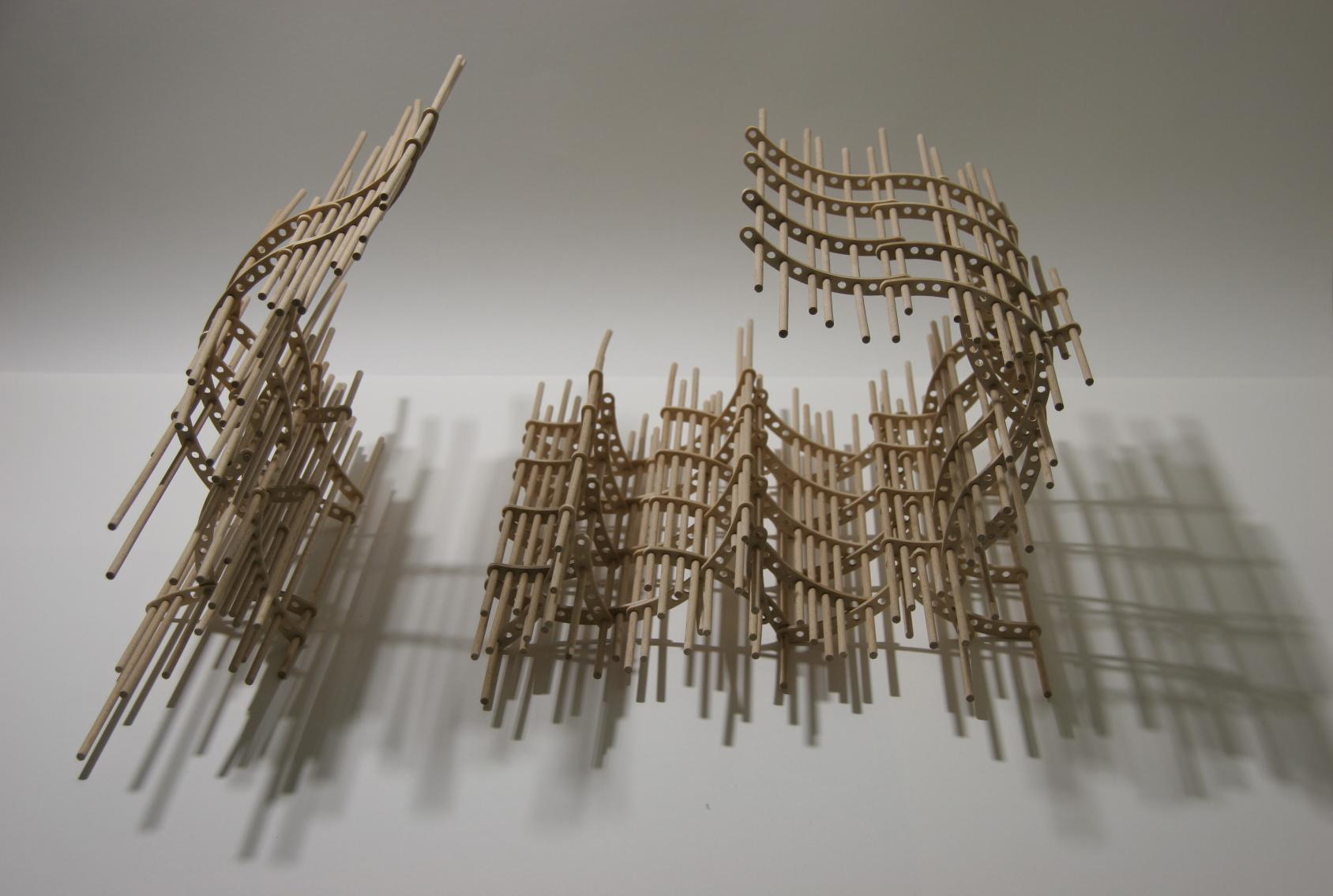 Solaris, 2009; plywood, wooden sticks, 56 x 58 x 30 cm