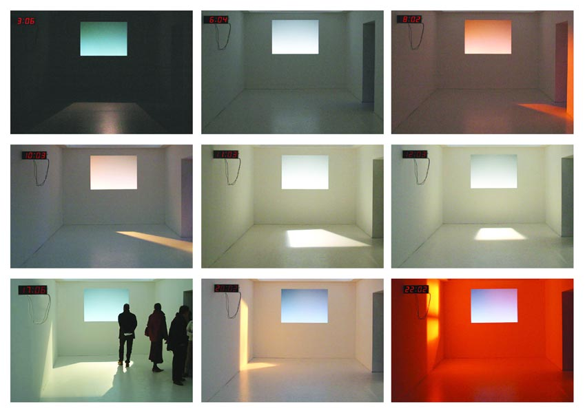 A Speedy Day, electronic clock, light, room construction, light design: A. J. Weissbard, 2003