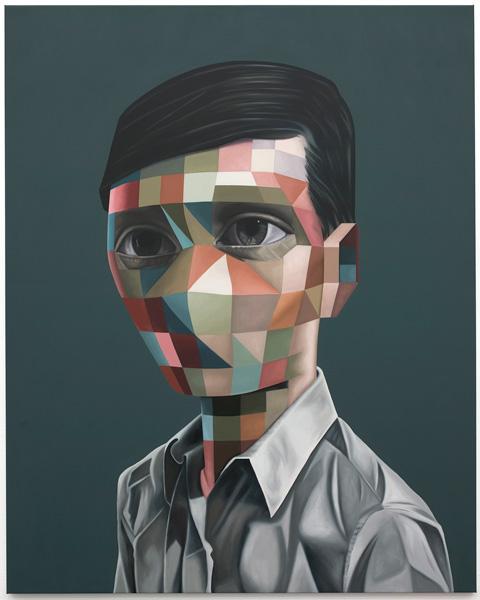 Vectorface 1, oil on canvas, 180 x 144 cm, 2008