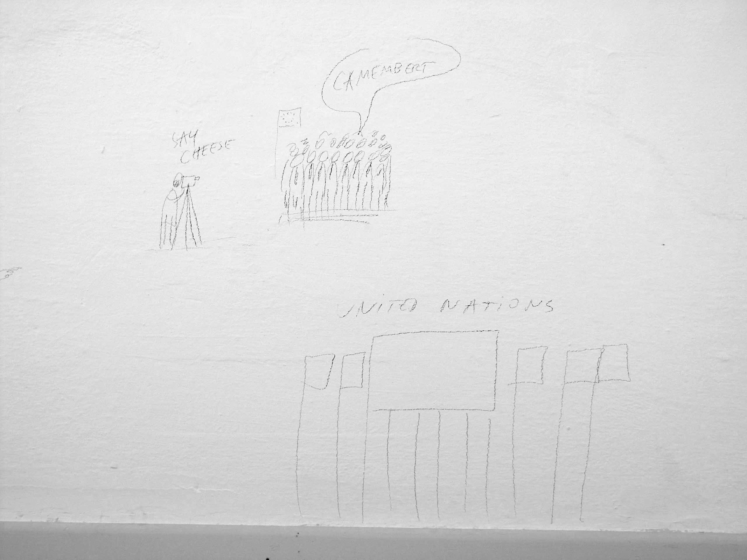Dan Perjovschi | Goran Petercol: Drawing, Drawing, exhibition view, Galerija Gregor Podnar, Kranj, 2004