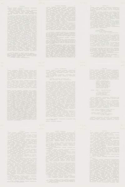 Trascrizioni, Self-Story, detail, Indian ink on parchment like paper, 288 pages, 19 x 12.5 cm each (228 x 300 cm overall), 1977