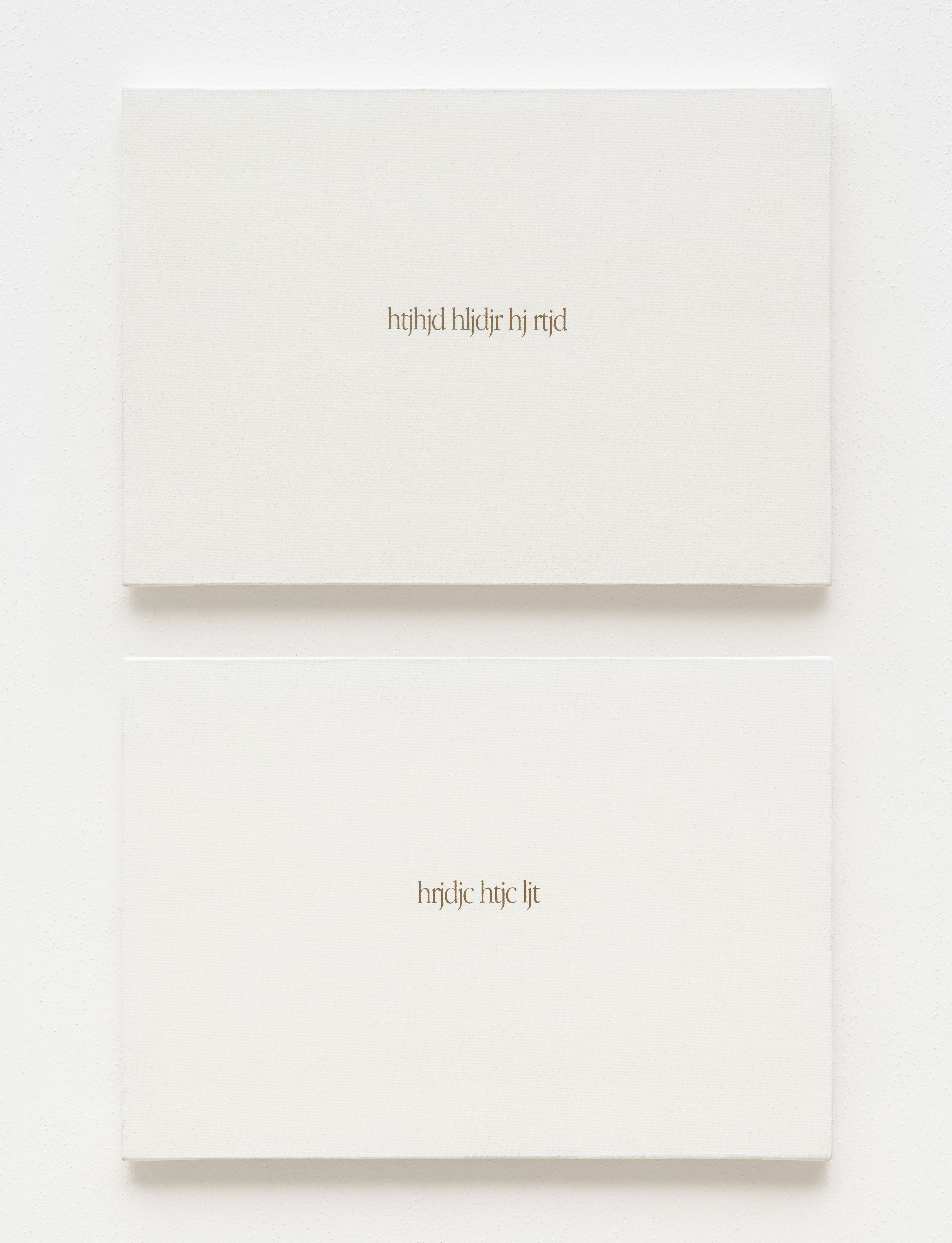 Global Writings, La lingua ritrovata, poesia minima, 19-2-04, digital writing and silkscreen print on canvas, diptych, 30.5 x 43.5 cm each (61 x 43.5 cm overall), 2004