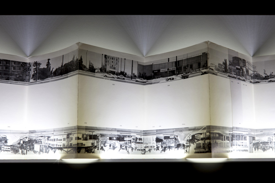 Ed Ruscha,Every Building on the Sunset Strip, detail, 1966. What If Time Stood Still?, exhibition view, Galerija Gregor Podnar, Ljubljana, 2014. Photo: Jaka Babnik