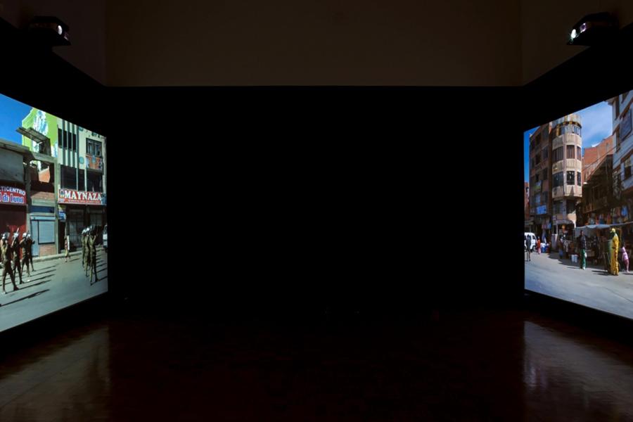 Claudia Joskowicz, Every Building on Avenida Alfonso Ugarte - After Ruscha, video installation, 2011. What If Time Stood Still?, exhibition view, Galerija Gregor Podnar, Ljubljana, 2014. Photo: Jaka Babnik