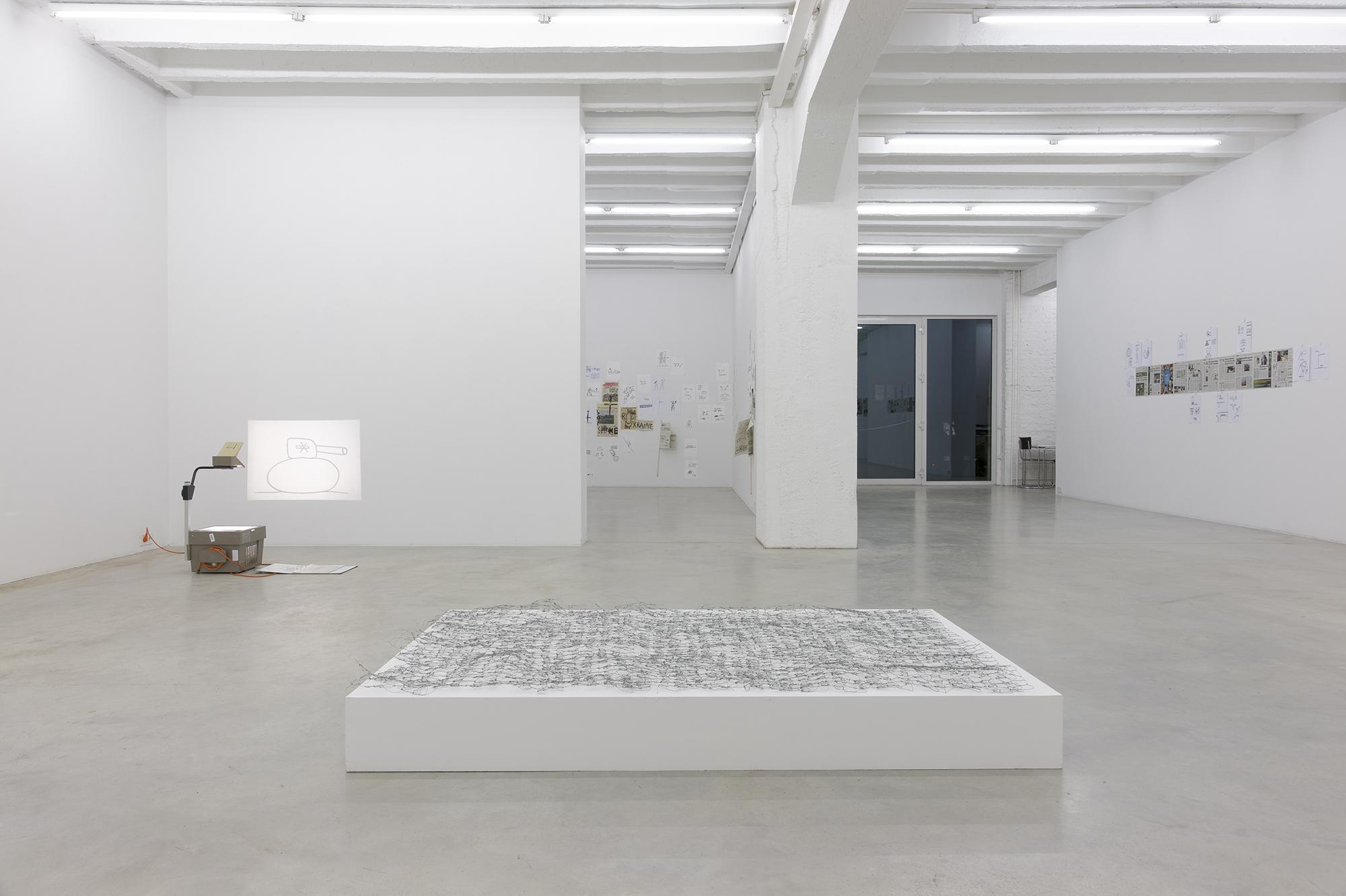 Dan Perjovschi: Need to Draw, exhibition view, Galerija Gregor Podnar, Berlin, 2014. Photo: Marcus Schneider