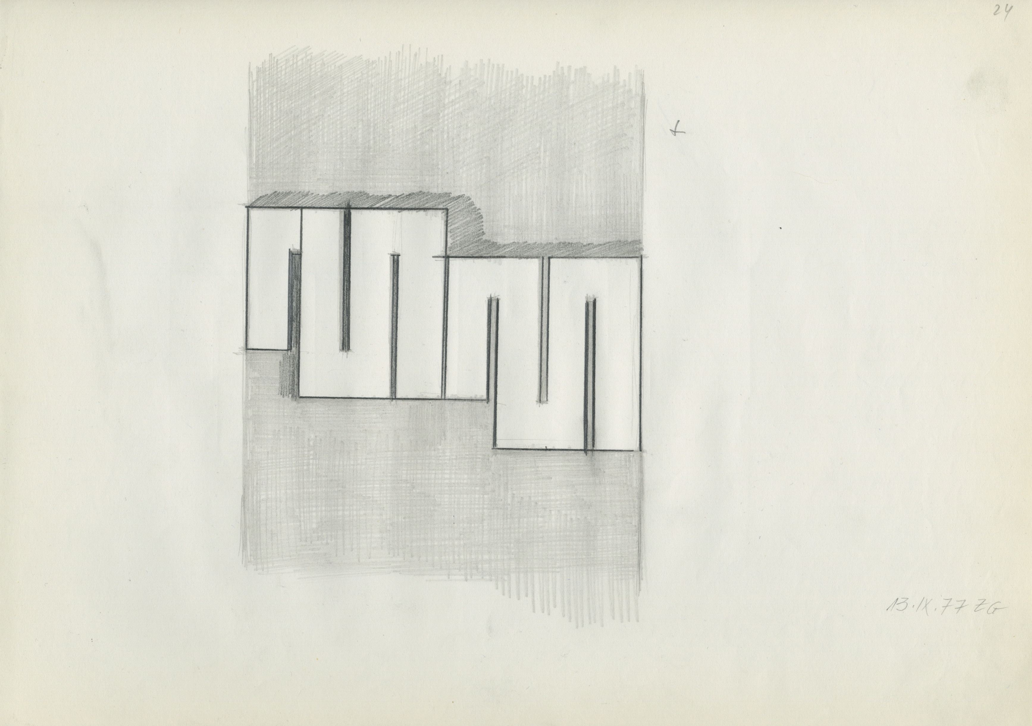 Untitled, 13 September 1977, pencil on paper, 21 x 29.7 cm, 1977