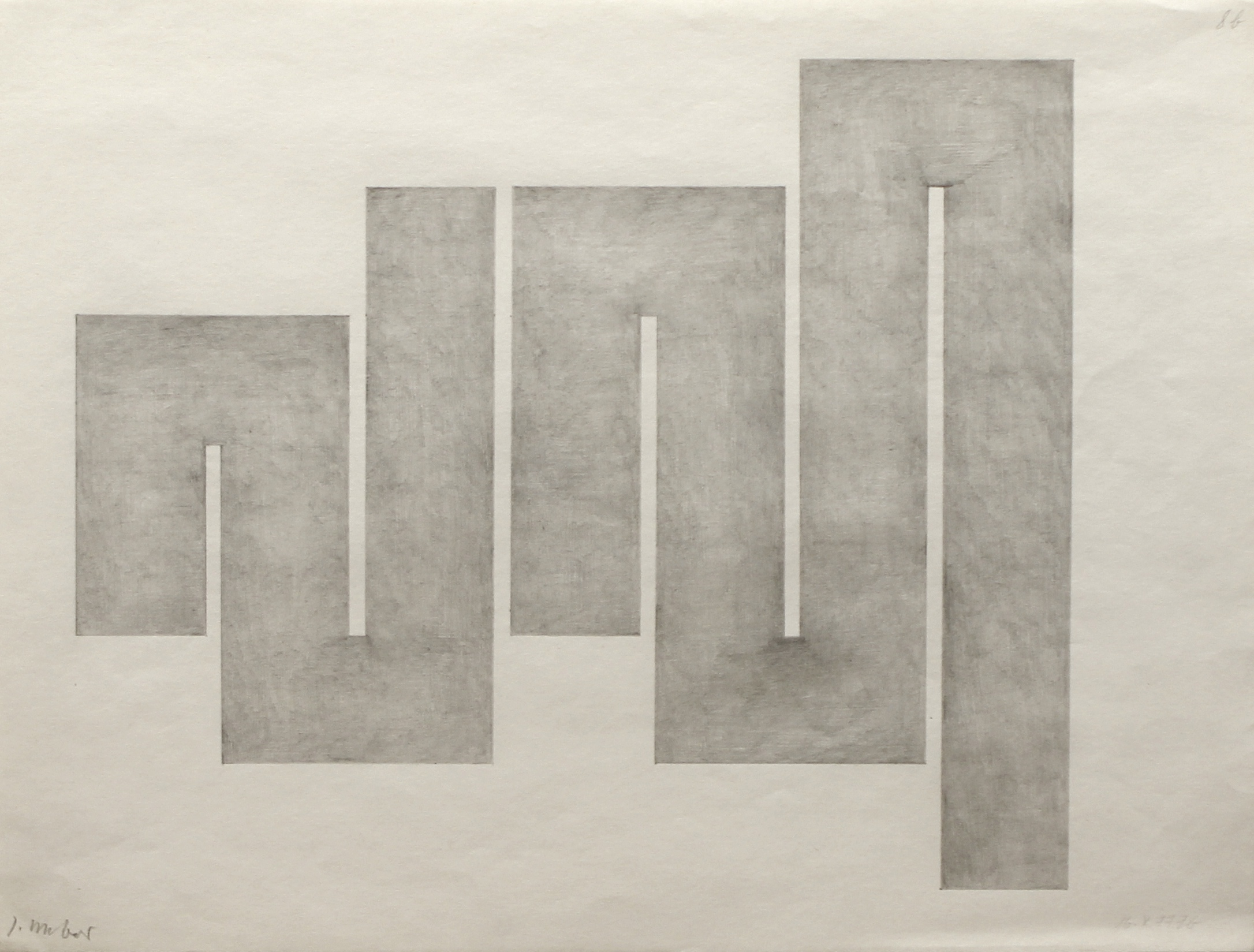 Untitled (6b) 14 October 1977, pencil on paper, 30 x 39.5 cm, 1977