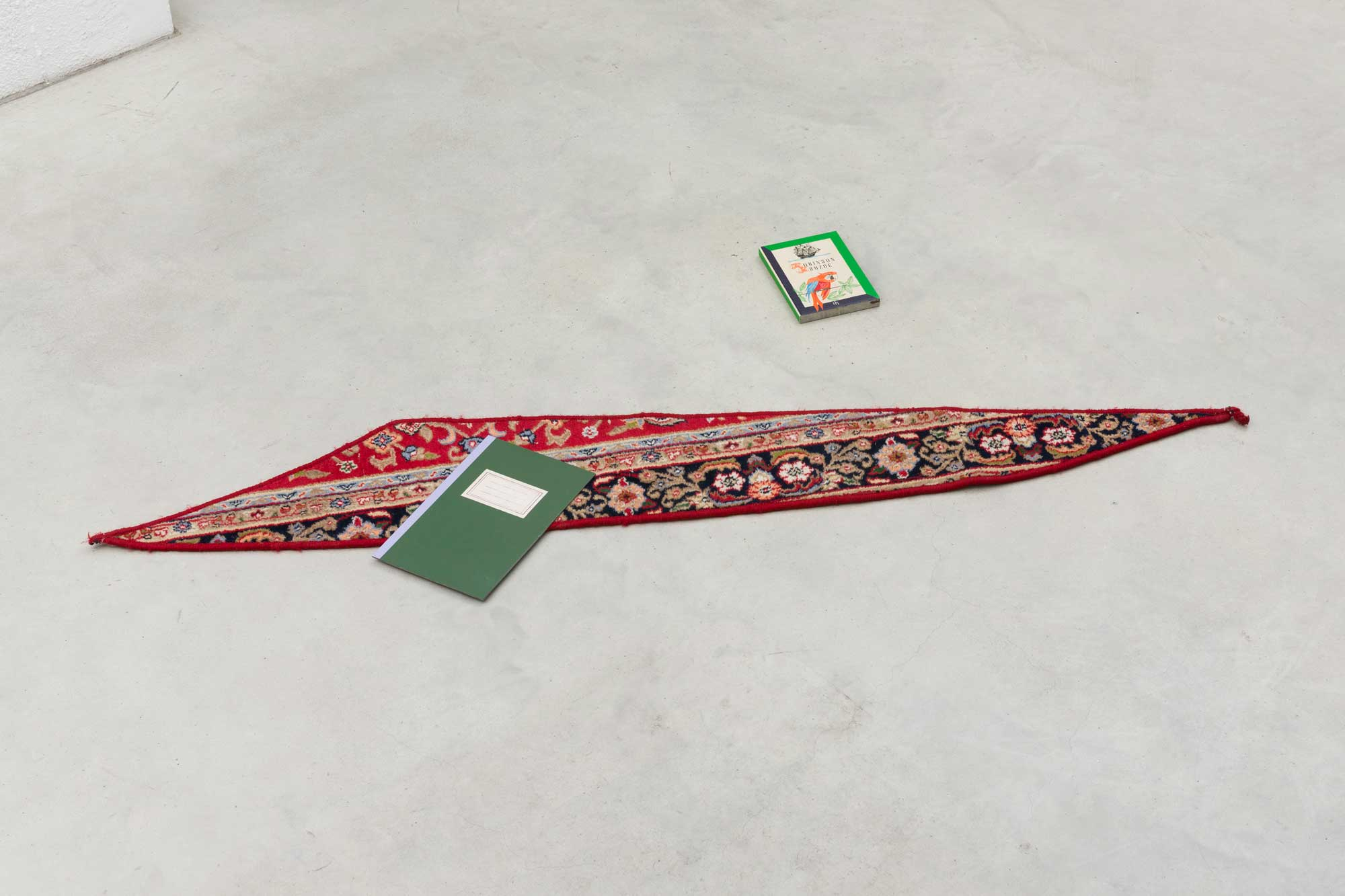 Marzena Nowak, Carpet Piece with Book and Notebook, 2014. Photo: Marcus Schneider