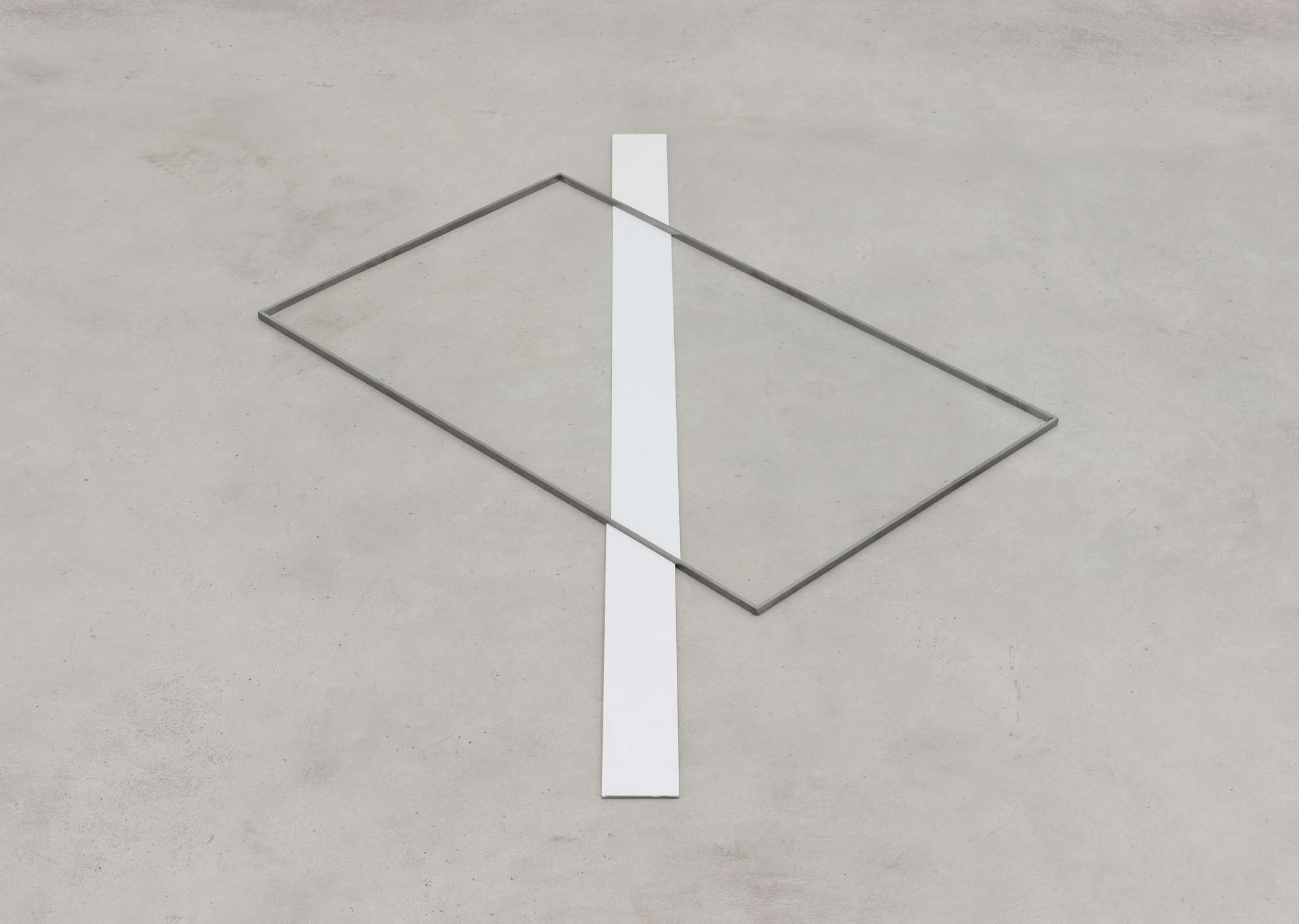 Inaccurate Line, painted iron, wax on the floor, 1 x 146 x 105 cm, 2015