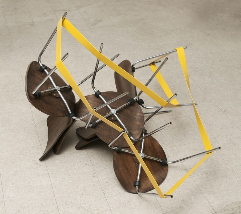 Isolating (Chairs), chairs, iron and enamel paint, 100 x 135 x 145 cm, 2008
