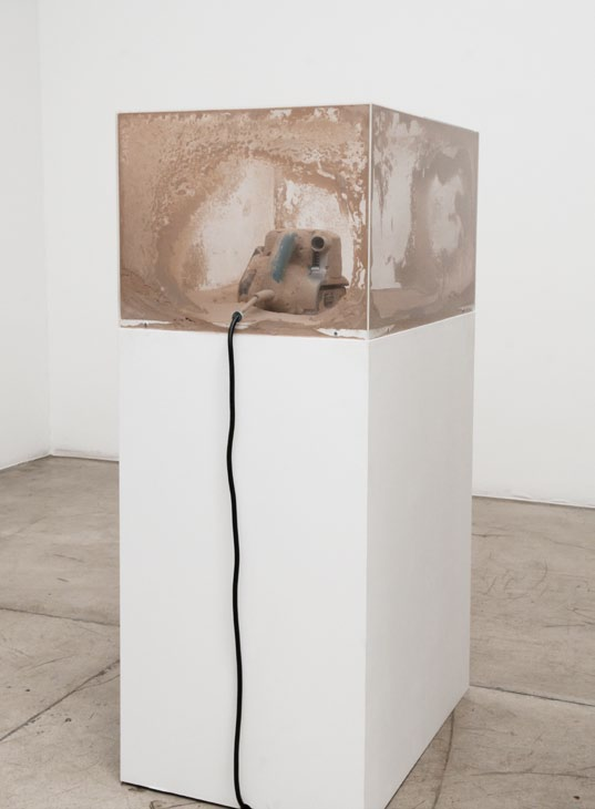 The Sculptor, wooden plinth, acrylic and electric sanding machine, 130 x 50 x 70 cm, 2010