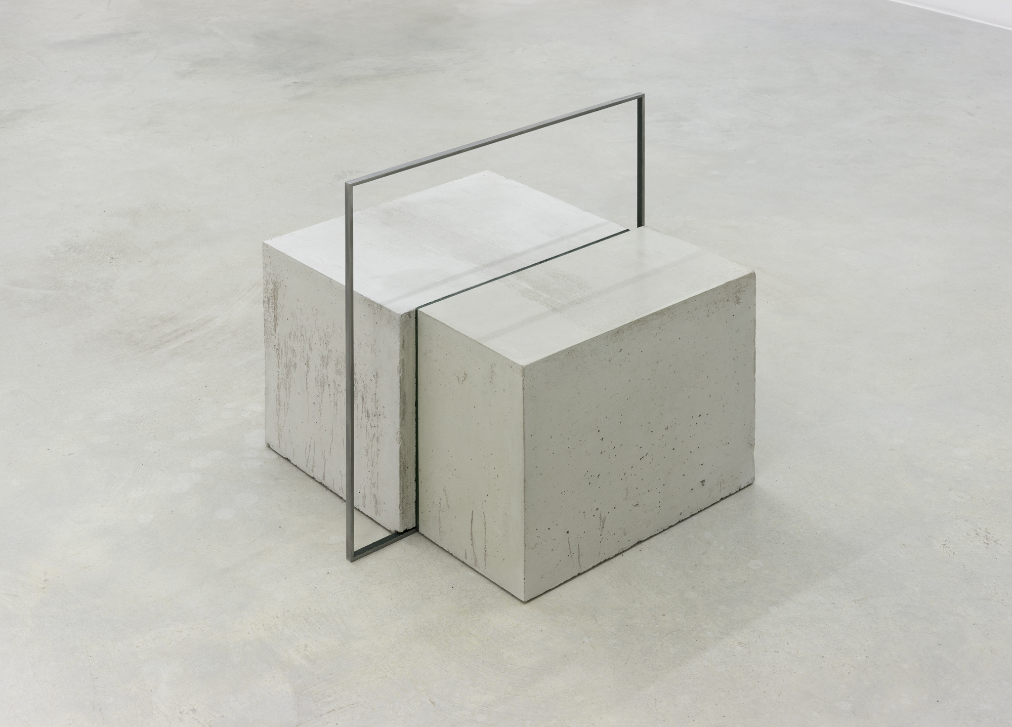 Solid Section, concrete, wax and painted iron, 50 x 50 x 50 cm, 2015