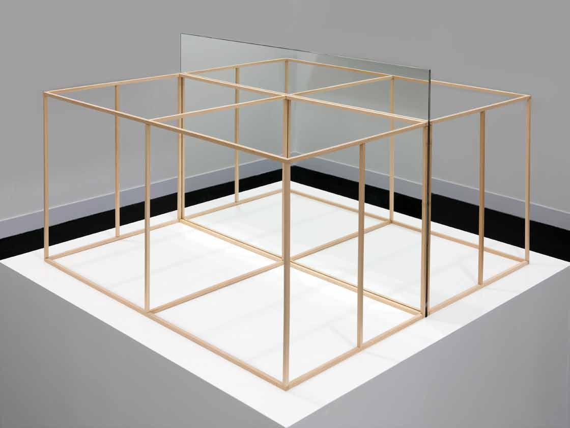 Mirar: construir, mirror and wooden sticks on wooden base, 133 x 125 x 126 cm, 2011