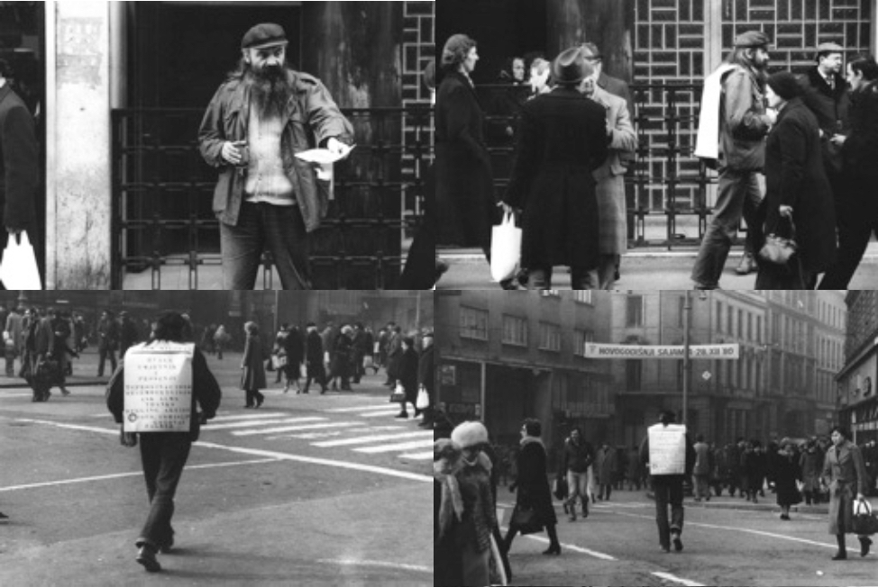 Begging, performance, Zagreb, 1980