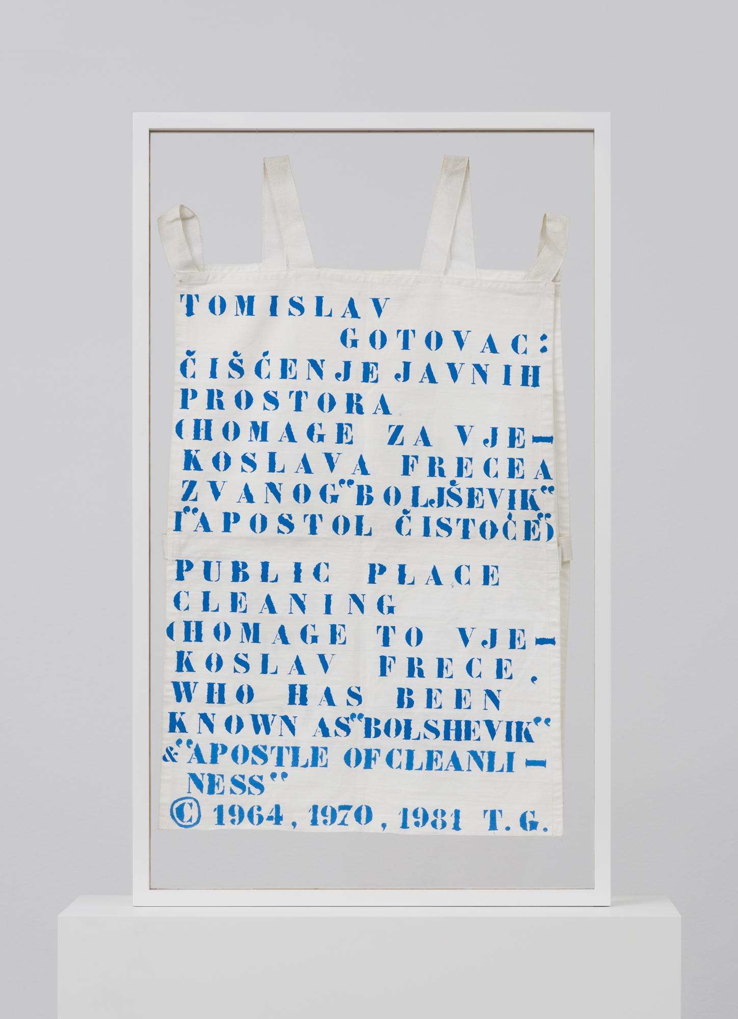Cleaning of Public Spaces, artefact from the performance, hand-made apron, 1981