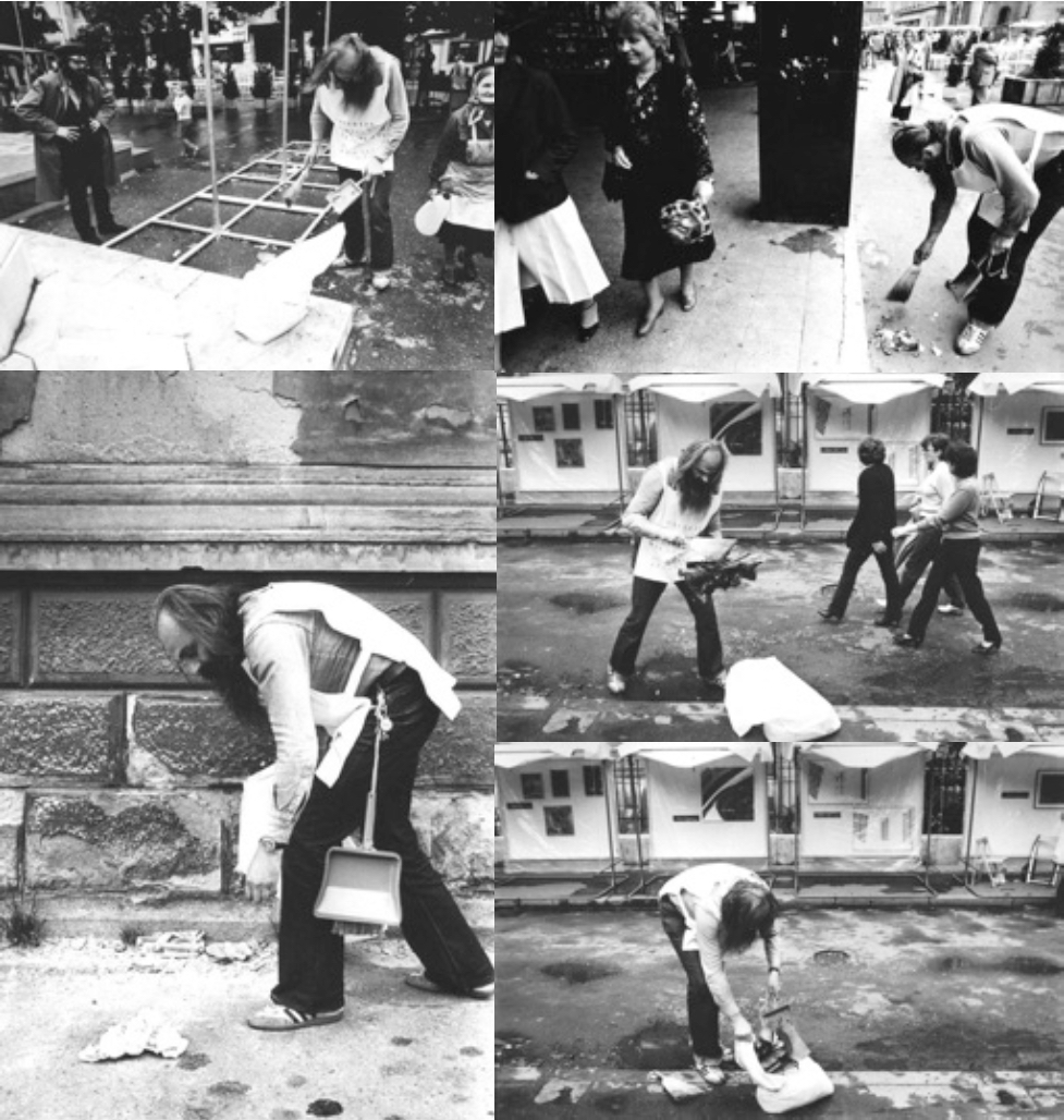 Cleaning of Public Spaces, performance, Zagreb, 1981. Photo: Ivan Posavec